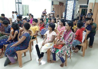 Boys & Girls attending a class on health & hygine