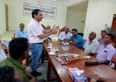 Group meeting on verious issue,Adviser of Library & GM Petrocem Mr Partha is speaking