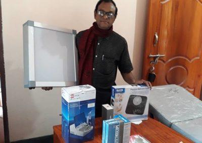 Medical equipments for Friday Clinic_ donation from Mossarof Hossen Babu, Adviser of Library and Chairman of Uttara Abason, Dhaka